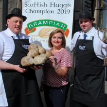 Louise Harley from Grampian with Matthew and John at Tom Courts
