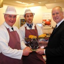 Jim Mitchell of category sponsors, Dalziel Ltd presents the 2017 Best Bridie, to Murdoch Brothers, Forres