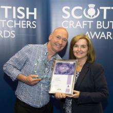JB Houston 2017 Scottish Haggis Champion with Louise Harley of Grampian Oat Products
