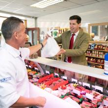 Lord Duncan makes a purchase at Hunters of Kinross