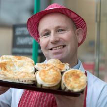 Andrew Kirk at Kirk Butchers in Cardenden, Fife with his award winning pies