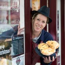 Lisa George with her Gold award winning Bridies at The Butchers Shop, Kinghorn, Fife.