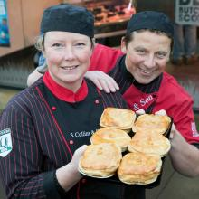 Stewart Collins with his piemaker and award winning pies at S Collins & Son, Muirhead.