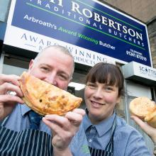 Steve and Pam at DH Robertson, Arbroath with their award winning bridies